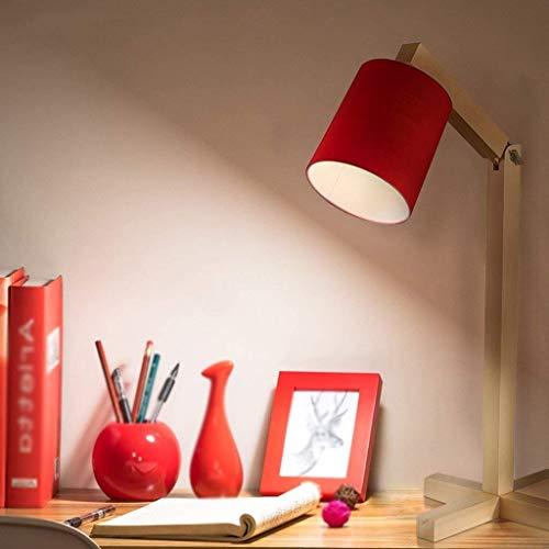NA Gyy Home Hotel verlichting chique bureau lamp, massief hout lamp lichaam en doek lampenkap, pet type E27