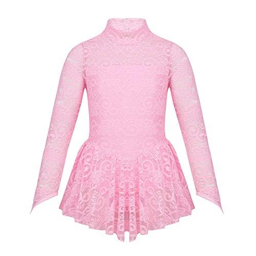 Freebily Eiskunstlauf Kleid für Mädchen Rollschuhkleid Wettbewerb Kostüm Langärmliges Eislaufen Kleid Ballettkleid Spitze Applique Skating Dress Pink Rosa 146-152/11-12 Jahre