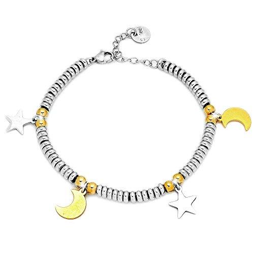 Beloved Bracciale da donna, braccialetto in acciaio con ciondoli pendente colore argento, colore oro - misura regolabile - anallergico (Stelle e luna