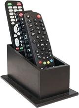 Porta Controle Remotos Com 3 Divisórias Preto Em Mdf