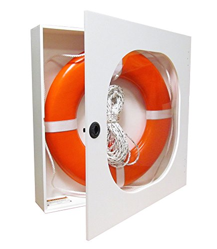 30 Inch Life Ring Cabinet with Throw Line and USCG Buoy