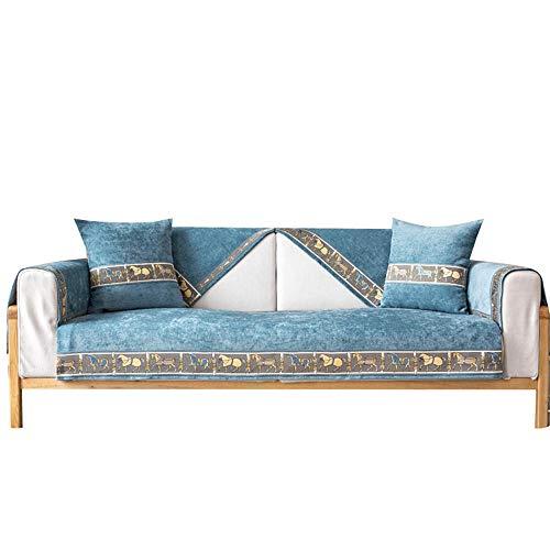 Funda de sofá con Bordado de Chenilla Funda de sofá seccional Antideslizante,Funda de sofá Acolchada en Forma de L,Funda de sofá para niños,Perros,Mascotas,Azul,70x150cm