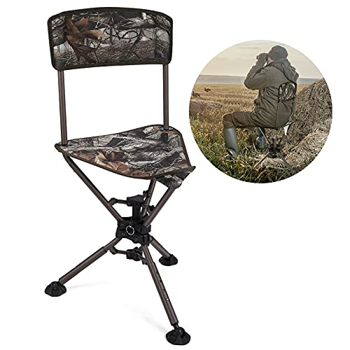 kemimoto 360°Tripod Swivel Hunting Chair with Backrest, Quick Folding Camo Blind Chair, Height Adjustable Hunter Fishing Camping Stool Chair for Outdoor Activities