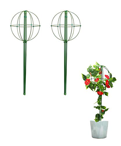 "Mimeela Garden Trellis for Climbing Plants, Creative DIY Lollipop Plant Trellis, 24 Inches Plant Support Cute Lollipop Trellis for Potted Plants (24""- 2 Pack)"
