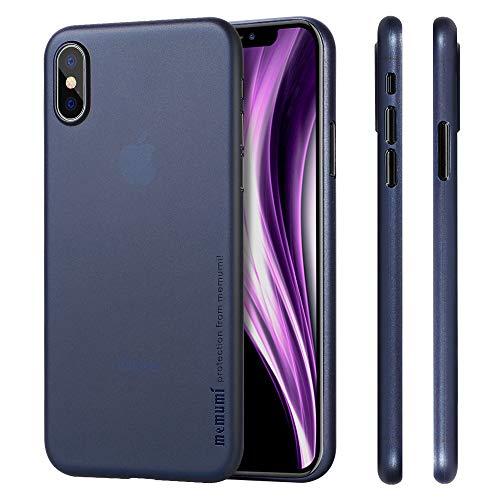 memumi Hülle für iPhone X, Schlankes Extra Dünn Hardcase [0.3mm Halb Transparent] Anti-Fingerabdruck, FeinMatt Federleicht Schutzhülle kompatibel mit iPhone 10 / X Case Cover - Blau