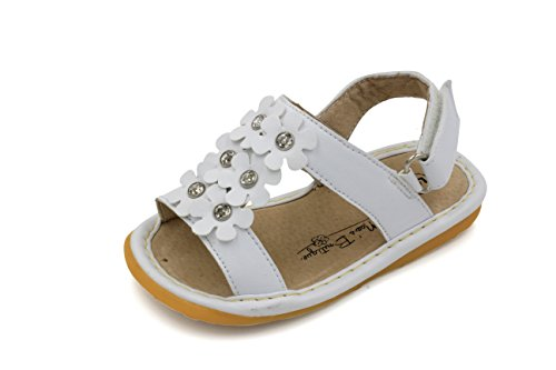 Little Mae's Boutique White Flowers Girl Squeaky Sandals Shoes (5)