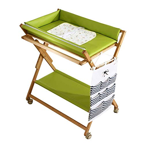 DSJMUY Mesa para Cambiar pañales de Madera Verde para Espacios pequeños, tocador Plegable para recién Nacidos con Ruedas, Carga 150 kg (Color: Verde)