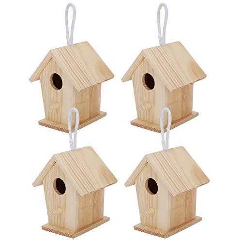 Jaula para pájaros de 4 Piezas, Jaula para pájaros, Hecha de Madera de platane para pájaros y decoración de jardín
