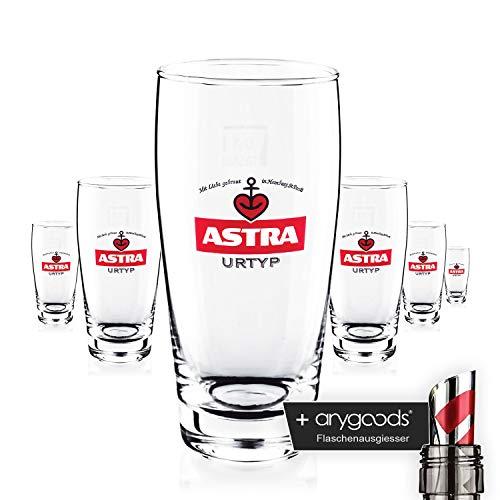 6 x Astra Bier Glas/Gläser 0,3l Willybecher Bierglas Gastro Bar Deko NEU + anygoods Flaschenausgiesser
