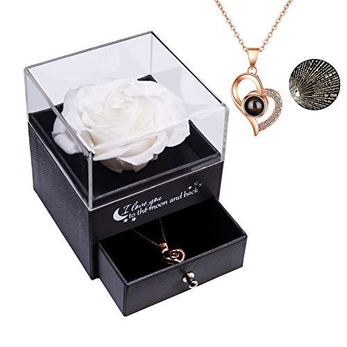 Rosa Real preservada con Collar I Love You Caja de Regalo en 100 Idiomas, Rosa eterna para el día de San Valentín, día de la Madre, Aniversario de Bodas, Regalo de cumpleaños para Ella - Blanc
