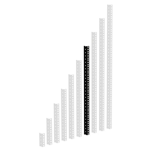 61535B14 - Guide per rack, con fori forati, 14 U, colore: nero