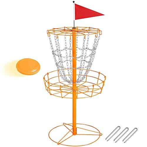 Topeakmart 12 Chain Disc Golf Goal Sport Disc Basket Practice Outdoor Steel Disc Golf Discs