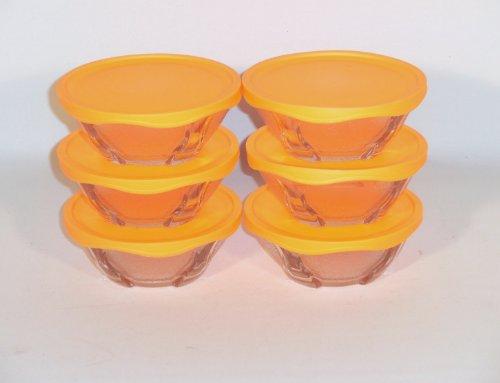 Puddingschale mit Deckel Glas - Schale 6 tlg. in Orange