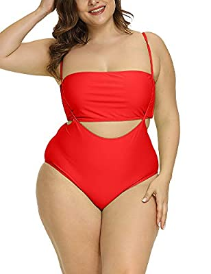 Allegrace Women Plus Size Swimsuits Two Piece Tube Top High Waist Bathing Suit Red 1X
