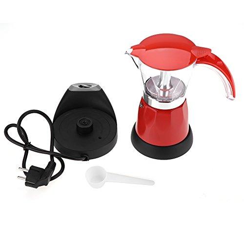Cafetera espresso eléctrica de 480 vatios, 300 ml/6 tazas de moca extraíble de aluminio con mango anti-escaldado, cafetera de estufa para el hogar, la oficina, los cafés(Red)