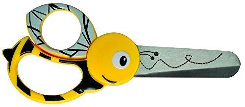 Fiskars Tijeras de animales para niños con motivos de abeja, A partir de 4 años, Longitud: 13 cm, para diestros y zurdos, Hoja de acero inoxidable/Mangos de plástico, Amarillo, 1003747