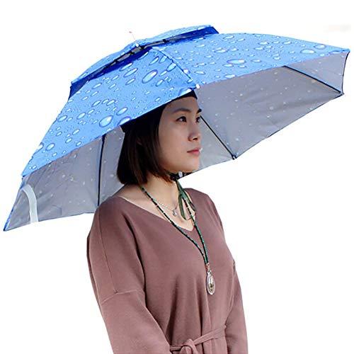 FUVOYA Sombrero de Paraguas de la Cabeza del Cortavientos, Adultos Grandes Plegable Brolly Sombrero con Manos Libres Diadema para Las Mujeres y el Hombre Golf, Pesca, jardinería, fotografía, Caminar
