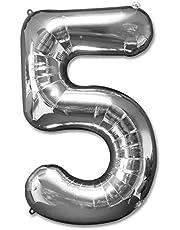 بالونات من القصدير بلون فضي على شكل ارقام لتزيين حفلات اعياد الميلاد وحفلات الزفاف (رقم 5) 35 انش من غالف ديلز