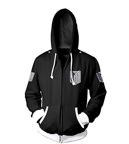 Cosstars Attack on Titan Anime Sudaderas con Capucha Chaqueta Cosplay Disfraz Aot Zip Hoodie Jacket Outwear Abrigo Negro M