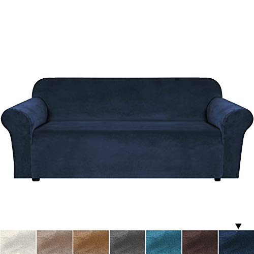 H.VERSAILTEX Velvet Plush Sofa Cover Couch Cover Sofa Slipcover Sofa Slip Cover Stretch Sofa Covers for 3 Cushion Couch Thick Soft, Secure with 2 Straps Machine Washable - Sofa 72'-96' - Navy