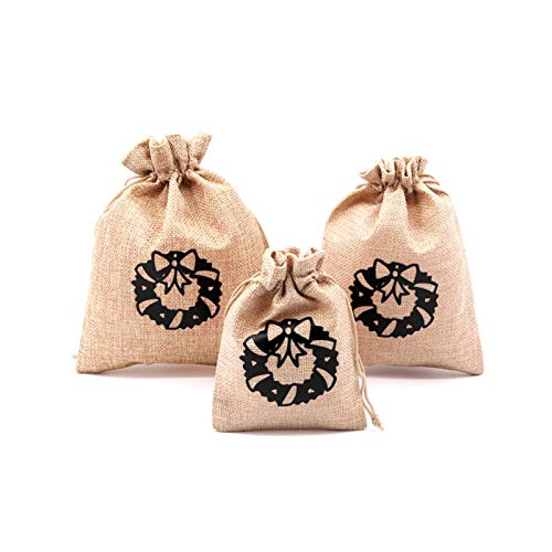 5pcs/lot Natural Jute Bags 10x14 13x18cm Christmas Pouches Drawstring Gift Bag Nice Bracelet Apple Candy Jewelry Packaging Bags Beautiful Gift Bag (Color : D4, Gift Bag Size : 10x14cm 5pcs)