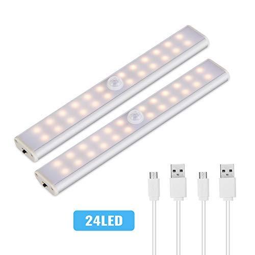 LED Schrankbeleuchtung mit Bewegungsmelder,LACYIE 24 LEDs USB Wiederaufladbar LED Unterbauleuchte Nachtlicht mit Magnetstreifen,3 Modi e Auto/ON/OFF für Küche Schrank Flur(3000K Warmweiß 2 Stück)