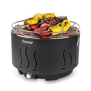 femor Rauchfreier Holzkohlegrill, Tischgrill mit Tragetasche, Grill mit Mirco-oder Batteriebetriebenem Lüfter, 3 Minuten Vorglühzeit, Tolle Temperaturregelung für Balkon Camping Picknick