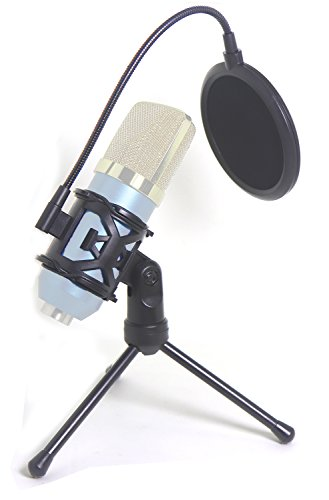 """Desktop Microphone Tripod Suspension Stand with Shock Mount Anti-Vibration Mic Holder and 4"""" Round Mask Shield Double-Net Wind Screen Pop Filter (Small, Black)"""