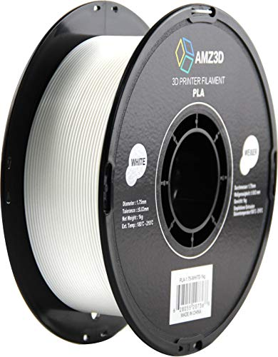 1.75mm White PLA 3D Printer Filament - 1kg Spool (2.2 lbs) - Dimensional Accuracy +/- 0.03mm