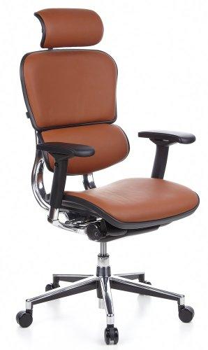 hjh OFFICE 652250 Bürostuhl Chefsessel ERGOHUMAN Leder, braun, viele individuelle Einstellmöglichkeiten, edles robustes Leder, Drehstuhl ergonomisch, verstellbare Armlehnen, Schreibtischstuhl