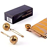 Set of 2 Tea Infusers & 1 Tea Spoon - Gold Stainless Steel Strainer Filter Ball with Perfect Multifuctional Serve Scoop to Brew Loose Leaf Tea, Durable Tea Steeper with Gift Box by MUPCOOK