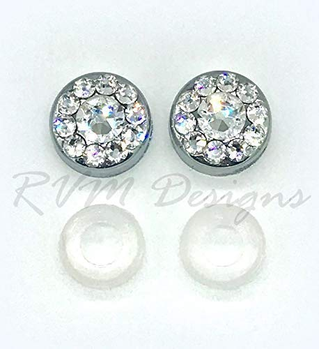 Bling License plate frame screw cap covers made with Swarovski Crystals -  RVMdesigns