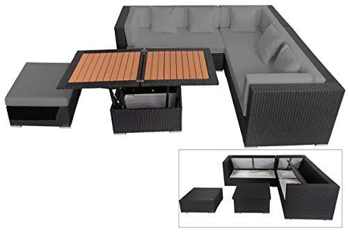OUTFLEXX Loungemöbel-Set, schwarz aus Polyrattan-Geflecht, Loungeecke für 6 Personen, wasserfeste Kissenbox, inkl. Loungetisch