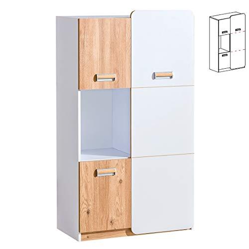 Furniture24 Schrank LORENTO L5 Hochschrank mit 3 Türen Kommode Highboard (Briliant Weiß/Nash Eiche)