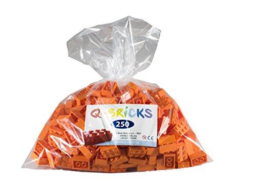 Q-bricks QB2 X 3-150-bg250 2 x 3 noppen bouwstenen in losse verpakking, helder oranje, 250