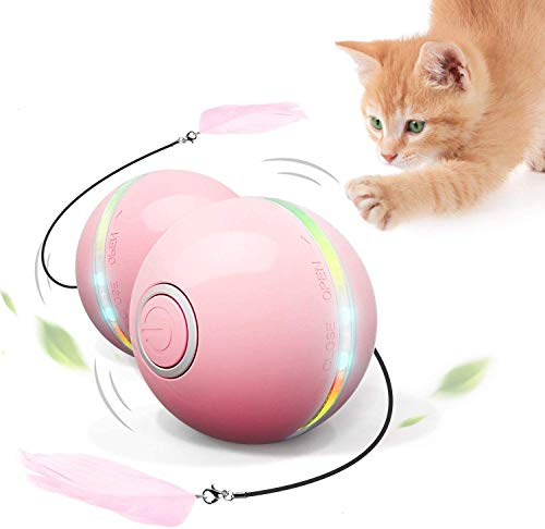 Feeko Interactive Cat Toys for Indoor Cats, Automatic Rolling Kitty Toys, Build-in Catnip Spinning Color Led Light, USB Charging Timing Motion Ball with Feather/Bells Toys for Cats/Kitten (Pink)