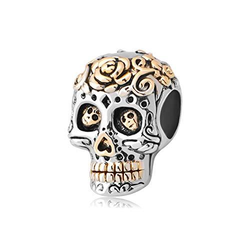 MiniJewelry Women Sugar Skull Charm for Bracelets fits Pandora Charms Bracelets Dia de los Muertos Christmas Birthday, Rose