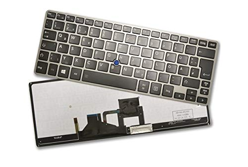 X-Comp - Teclado para Toshiba Satellite Z30 Portege Z30 Z30-A Z30T Z30T-A (Marco Plateado, Incluye luz Trasera), Color Negro