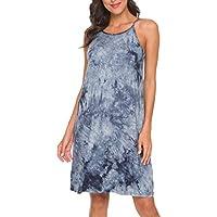 Laughido Women's Sleeveless Halter Neck Tie Dye Loose Casual Shift Dress