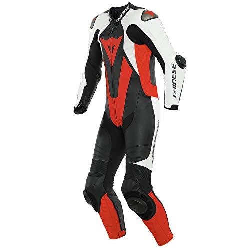 Dainese Laguna Seca 5 Abito in pelle per moto perforato a un pezzo Nero/Bianco/Rosso 52
