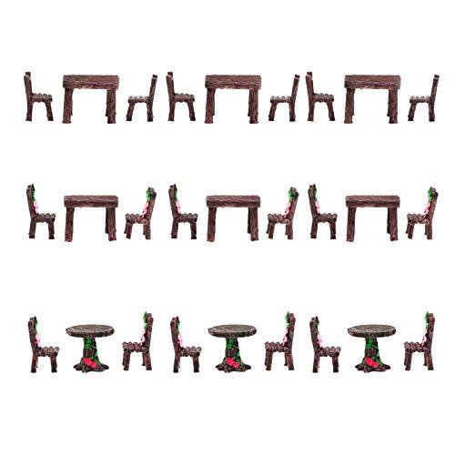 YARNOW 9Pcs Mini Juego de Sillas de Mesa de Casa de Muñecas Micro Hadas Jardín Paisaje Muebles Decorativos Miniatura Bonsai Diseño de Escena Adornos Mesa de Arena de Navidad Juguetes