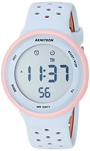 Armitron Sport Unisex 40/8423PPB Light Pink Accented Digital Chronograph Light Blue and Tan Perforated Silicone Strap Watch