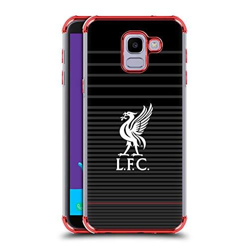Officiële Liverpool Football Club Wit Op Zwart Kit Lever Vogel Rode Shockproof Fender Case Compatibel voor Samsung Galaxy J6 / On6 (2018)