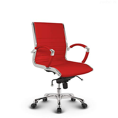 VERSEE Design Bürostuhl Montreal - Echt-Leder - rot - Konferenzstuhl, Meetingstuhl, Drehstuhl, Bürodrehstuhl, Schreibtischstuhl, Designklassiker, hochwertige Verarbeitung, 150 kg belastbarkeit