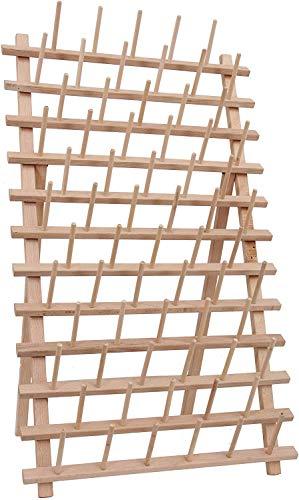 Threadart 66 Large Spool Cone Wood Thread Rack   Made of Hardwood, Sturdy, Freestanding or Wall Mount   3