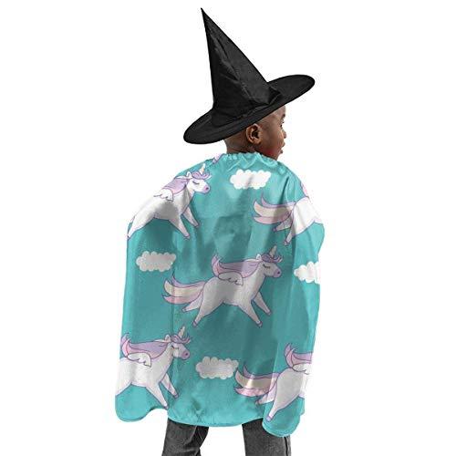 meilie Deluxe Halloween Kinder Kostüm Flying Unicorn Wizard Hexenumhang Cape Robe und Hut Set