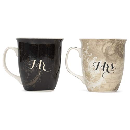 Where You Go Mr. and Mrs. Ruth 1:16 18 Ounce New Bone China Coffee Mug Set of 2