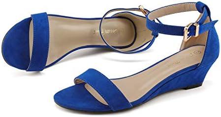 Royal blue wedges heels _image1