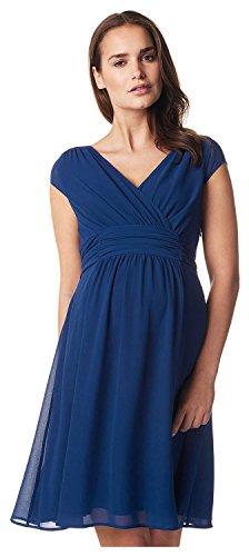 Damen Umstands- Kleid Gerafftes Taillenband Dress Farbe: Medium Blue Größe: L