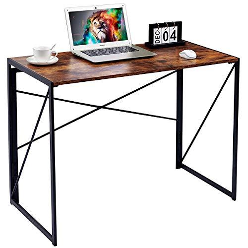 FurnitureR Sin Ensamblaje Mesa Plegable Auxiliar Escritorio Estilo Industrial Imitación Madera Marrón Vintage (100x50x75 cm)